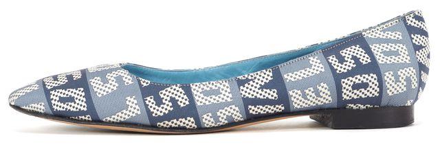SONIA RYKIEL Blue White Monogram Canvas Ballet Flats