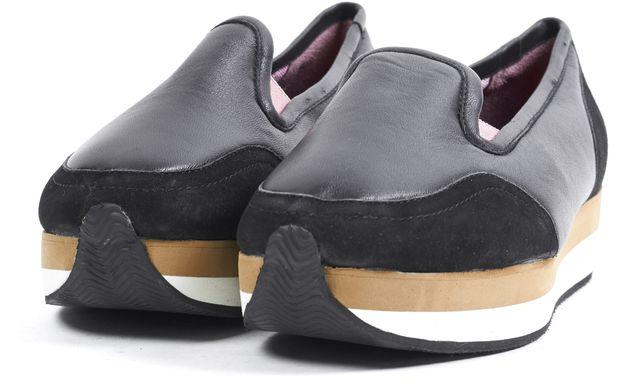 SONIA RYKIEL Black Leather Slip-on Platform Shoes