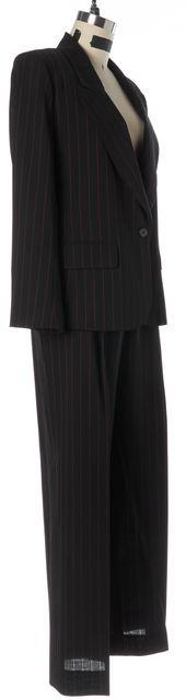 SONIA RYKIEL Black Red Wool Pinstriped Pant Suit Set