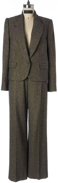 SONIA RYKIEL Beige Black Metallic Wool Cashmere Tweed Pant Suit Set
