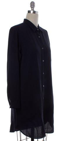 STEVEN ALAN Navy Blue Wool Button Down Shirt Dress