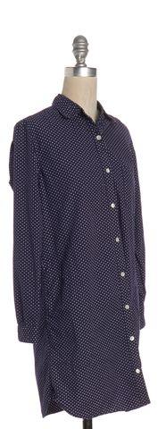 STEVEN ALAN Blue White Polka Dot Shirt Dress