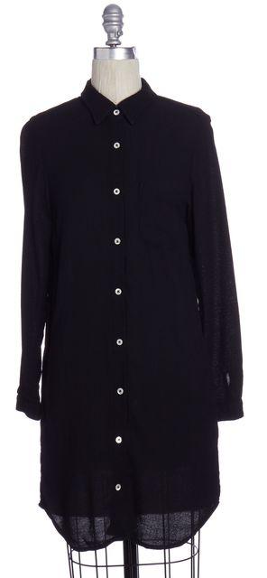 STEVEN ALAN Black Long Sleeve Button Down Shirt Dress
