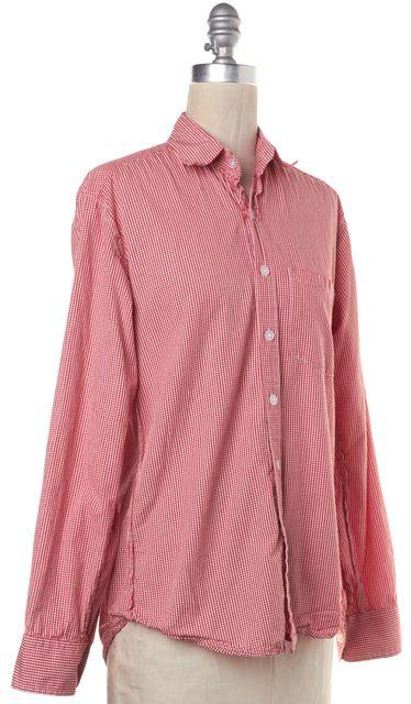 STEVEN ALAN Red White Plaid Button Down Shirt Top