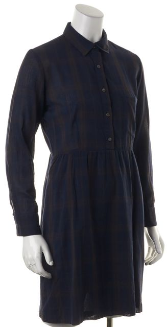 STEVEN ALAN Blue Brown Plaid Cotton Long Sleeve Shirt Dress