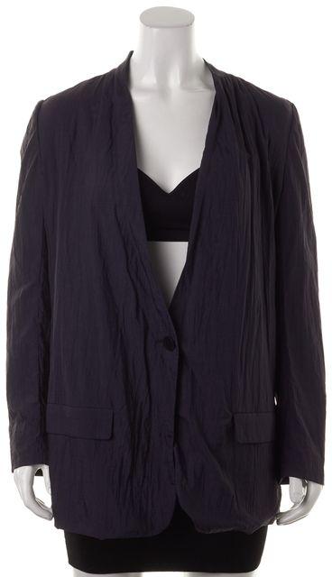 STEVEN ALAN Navy Blue Crinkle Textured One Button Long Blazer Jacket