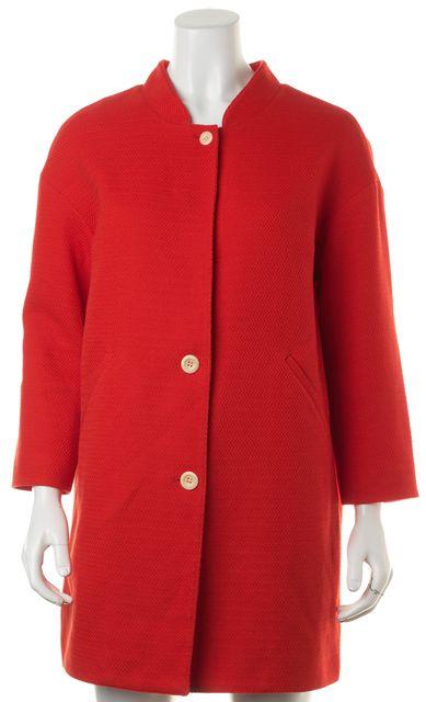 STEVEN ALAN Red Herringbone Cotton Button Up Basic Jacket