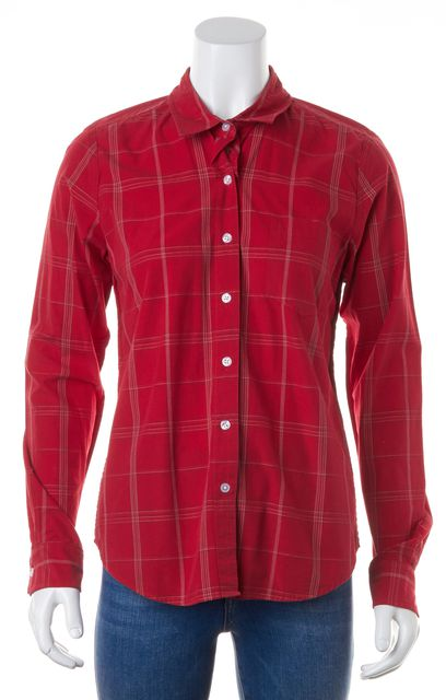 STEVEN ALAN Red Plaid Long Sleeve Button Down Cotton Shirt Top