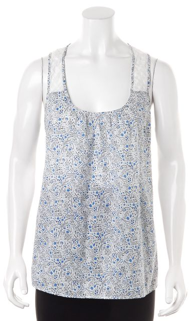 STEVEN ALAN Blue White Floral Printed Cotton Semi Sheer Yoke Tank Top