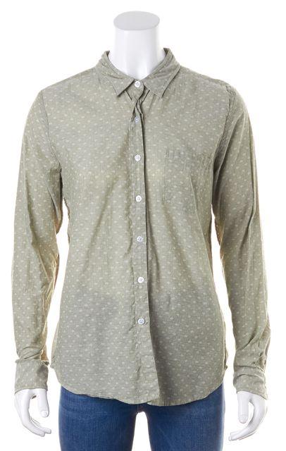 STEVEN ALAN Green Graphic Button Down Long Sleeve Shirt Top