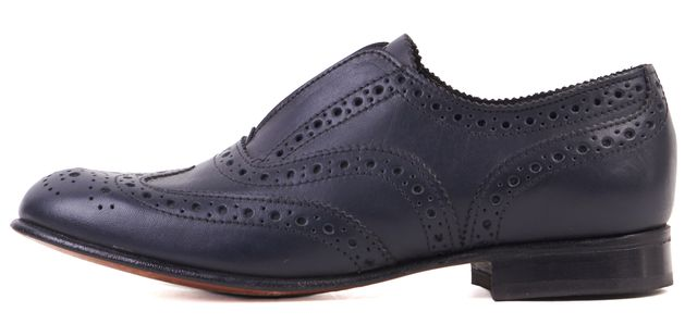 STEVEN ALAN Navy Blue Leather Slip-On Brogue Wingtip Oxfords