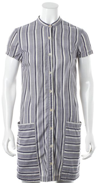 STEVEN ALAN Blue White Striped Print Side Pocket Button Down Shirt Dress