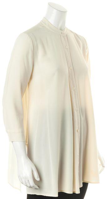STEVEN ALAN Ivory Sheer Crepe Silk Long Sleeve Button Down Shirt Blouse