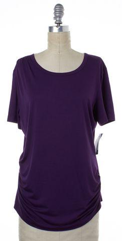 ST. JOHN Purple Scoop Neck T-Shirt