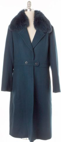 ST. JOHN NEW Teal Blue Fox Fur Trim Button Down Long Coat Size 12