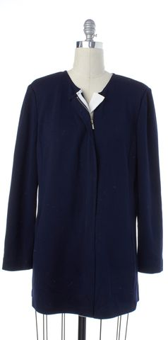ST. JOHN Navy Blue Wool Zip Up Should Padded Basic Jacket