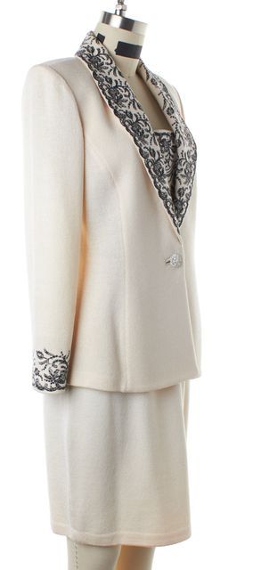 ST. JOHN Ivory Black Embellished Santana Knit Jacket Skirt Set