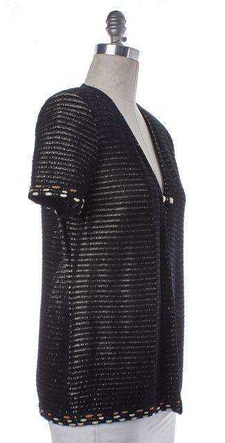 ST. JOHN Black Ivory Single Button Knit Jacket