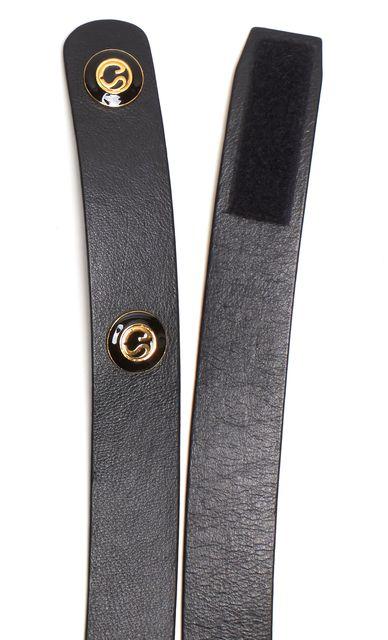 ST. JOHN Black Leather Velcro Gold Logo Belt
