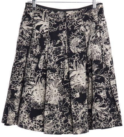 ST. JOHN Black Beige Floral Print Pleated Skirt