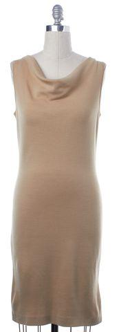 ST. JOHN Beige Wool Knit Sleeveless Sheath Dress Size 4