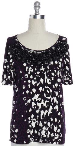 ST. JOHN Purple Black Embellished Short Sleeve Blouse Top Size S