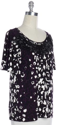 ST. JOHN Purple Black Embellished Short Sleeve Blouse Top Size S