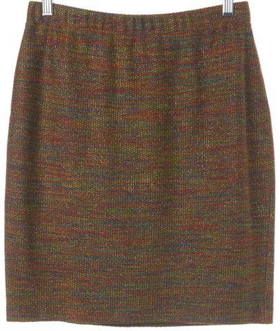 ST. JOHN Orange Multi Color Wool Pencil Skirt Size 6