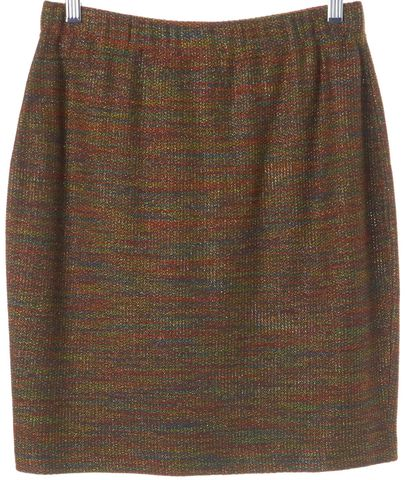 ST. JOHN Orange Multi Color Wool Pencil Skirt Size 6