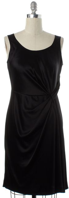 ST. JOHN Black Drape Sleeveless Sheath Dress