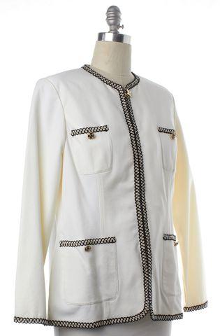 ST. JOHN White Black Trim Blazer Jacket