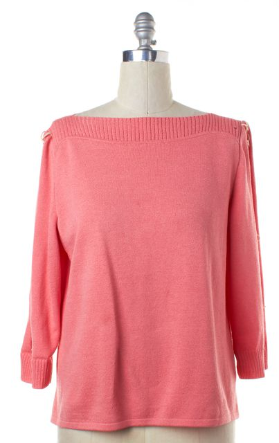 ST. JOHN Pink Wool Lace Up Long Sleeve Santana Knit Top