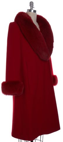 ST. JOHN Red Cashmere Wool Fur Trim Luxe Winter Coat