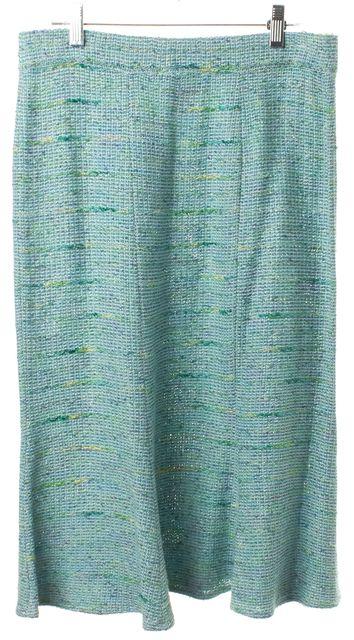 ST. JOHN Blue Tweed Bottom Flare Stretch Knit Skirt