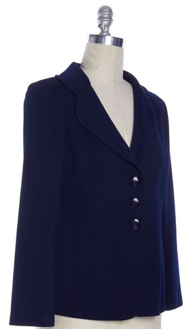 ST. JOHN Navy Blue Wool Three Button Basic Knit Blazer Jacket