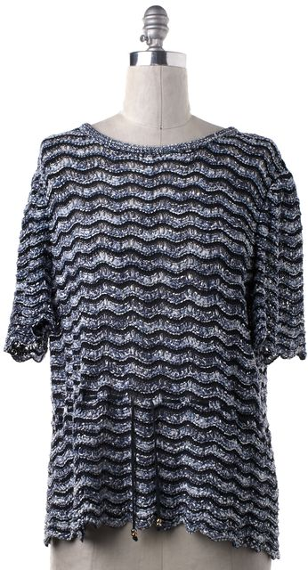 ST. JOHN Blue Striped Wool Knit Top