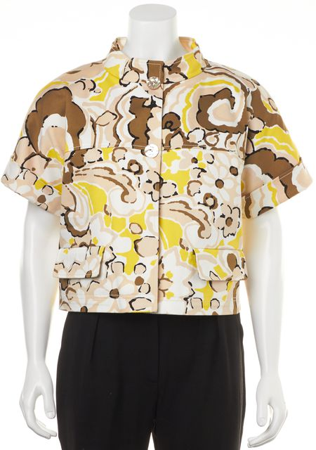 ST. JOHN Yellow Beige Ivory Abstract Print Casual Short-Sleeve Jacket