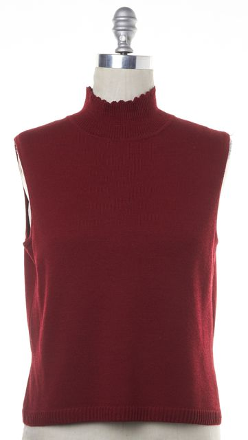 ST. JOHN Red Wool Knit Sleeveless Turtleneck Top