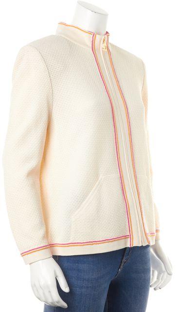 ST. JOHN SPORT Ivory Orange Pink Trim Wool Zip Up Basic Jacket