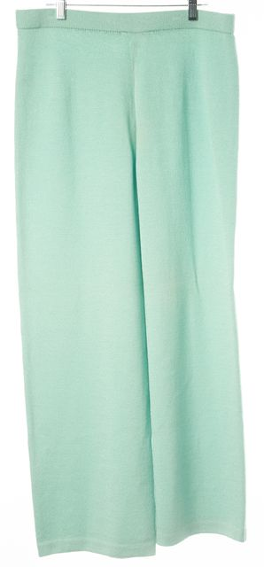 ST. JOHN Mint Green Wool Santana Knit Wide Leg High Rise Dress Pants