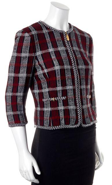 ST. JOHN Red Black White Plaid Wool Zip Up 3/4 Sleeve Basic Jacket