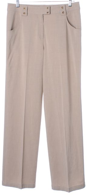 ST. JOHN Beige Wide Leg Relaxed Fit Casual Trousers Pants