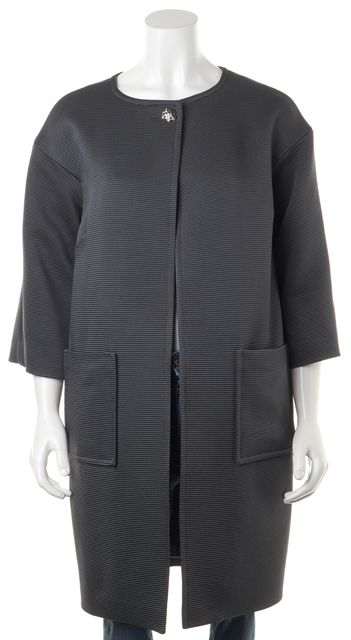 ST. JOHN Gray Pewter Basic Embellished Button Crop Sleeve Jacket Coat