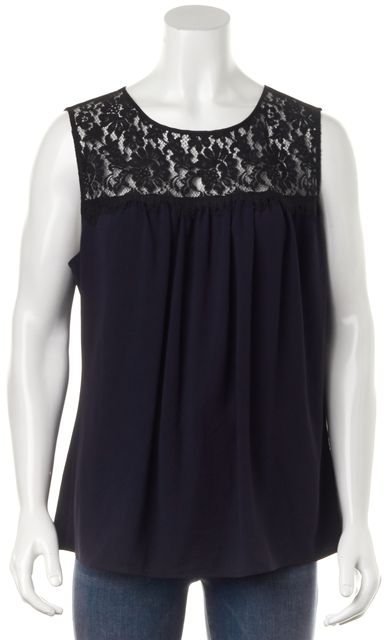 ST. JOHN Navy Blue Black Relaxed Fit Sleeveless Lace Combo Blouse Top