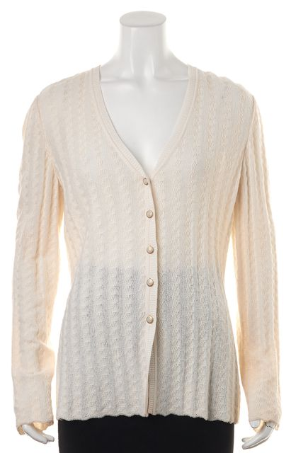 ST. JOHN Ivory Long Sleeve Button Front Cardigan