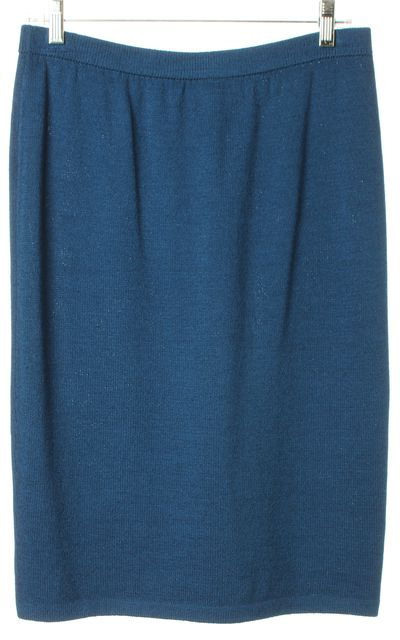ST. JOHN Blue Santana Knit Knee-Length Straight Skirt