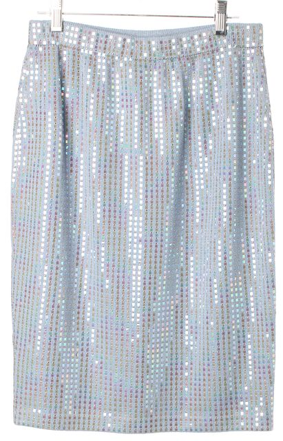 ST. JOHN Baby Blue Iridescent Embellished Santana Knit Straight Skirt