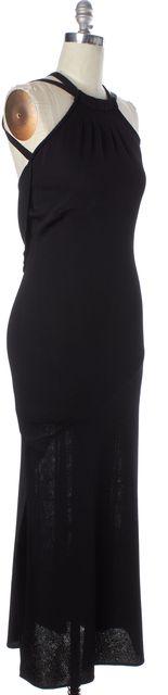 ST. JOHN Black Knit Embellished Back Halter Formal Full Length Sheath Dress