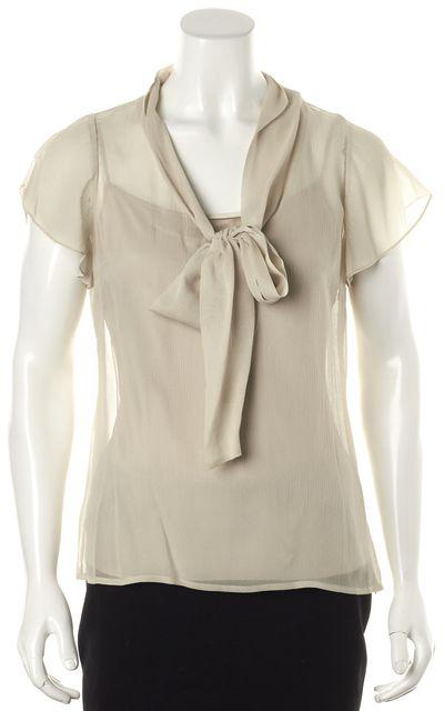 ST. JOHN Gray Silk Tie Neck Sheer Overlay Blouse