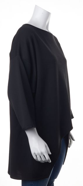 ST. JOHN Black Wool Boat Neck Sweater